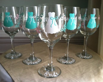 11 Personalized Bride and Bridesmaid Wine Glasses