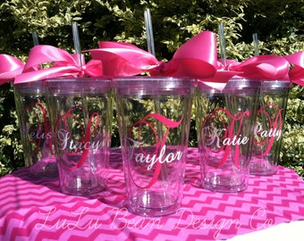 7 Personalized Monogrammed Bride and Bridesmaid Acrylic Double-Wall BPA-free Tumblers