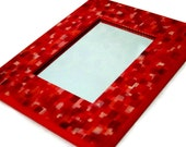 Red Framed Mirror -Rectangle, Hand Painted, Small Hanging Mirror, Cayenne Mirror, Stand Out Mirror, Deck The Halls Red with this mirror!
