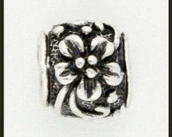 FLOWER Scroll Design - Antique Silver Charm Bead - fits European Bracelets - MS-2077