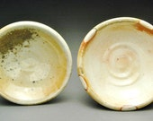 Pair of Wood Fired Salt Cellars, Small Bowls, or Sake Dishes, with White and Orange Shino Liner