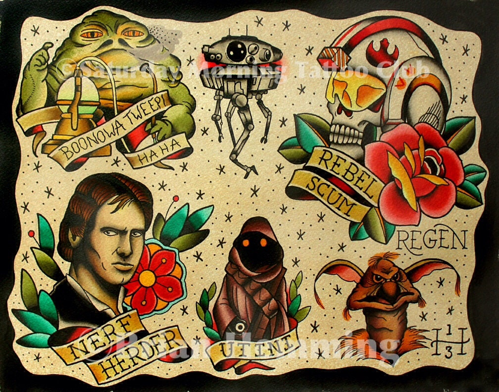 The gallery for --> Traditional Tattoo Flash Star Wars