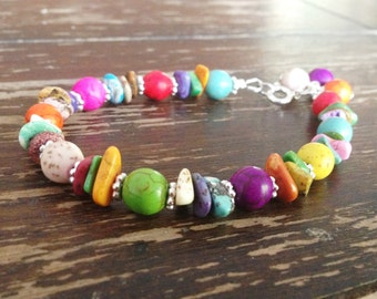 Multi Color Turquoise Bracelet - Turquoise Jewelry - Sterling Silver Jewelry - Gemstone Jewellery Bright Colorful Everyday