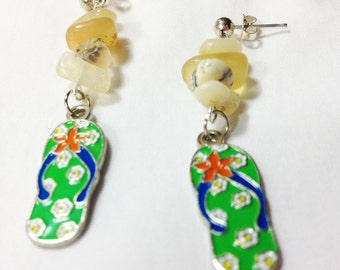 Earrings FlipFlops Summer Beach, Teen Jewelry, Flip Flop Jewelry, Green Earrings, Summer Jewelry, Summer Earrings, Flipflops by Cindydidit