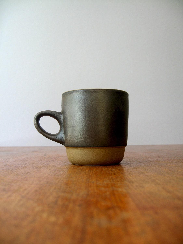 Vintage Heath Ceramics Low Handled Stacking Mug Matte Black