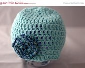 HALF OFF crochet cotton 6 to 12 month baby hat - blue
