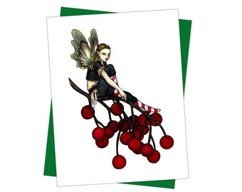 Fairy with Red Berries Holiday Christmas Card