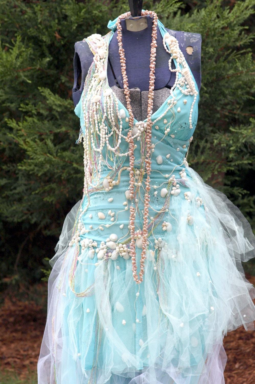 Sale: Tattered Ocean Seafoam Mermaid Fairy Dress Beach