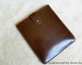 100% hand stitched handmade solid brown cowhide leather multiple bag / clutch / case / sleeve / cover