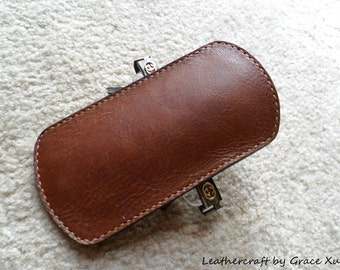 100% hand stitched handmade brown cowhide leather eyeglasses case/ pouch/ bag/ holder