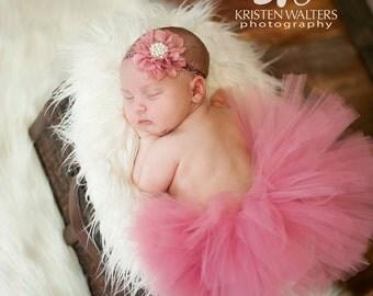 Baby Tutu, Newborn Tutu, Dusty Rose, Mauve Pink, Flower Headband, Glitter Elastic