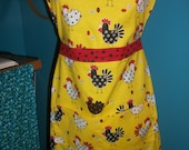 Ginny Apron -Funky Chicken  - Ready to ship