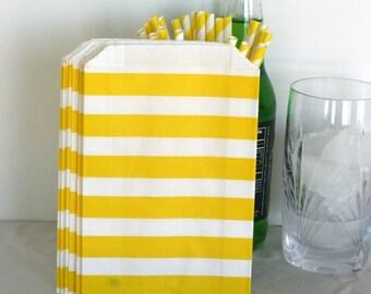 Yellow Bold stripe bag, birthday yellow bag, party bag, Yellow candy bar wedding bag, yellow party bag