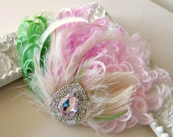 Bridal Hairpiece, Feather Fascinator, Wedding Hairpiece, Ivory,Pink, Green, Blush, Vintage Wedding, Prom