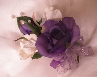 Purple REAL TOUCH ROSES corsage. Red White Hot Pink Coral Orange
