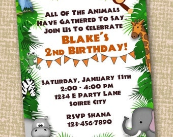 JUNGLE INVITATION & THANKS - Zoo or Safari Animal Printable Invite + Thank You Card - for Baby Shower or Birthday diy
