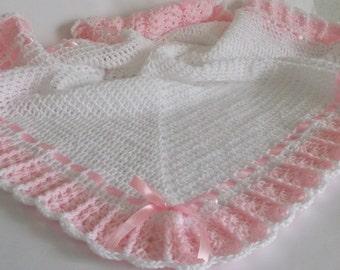 Crochet Baby Blanket  White Pink , Christening, Baptism, Baby Girl Shower Gift Satin Ribbon