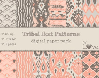 Ikat Tribal Digital Paper Pack 12 Pieces Instant Download - Beige Gray Salmon Pink Brown