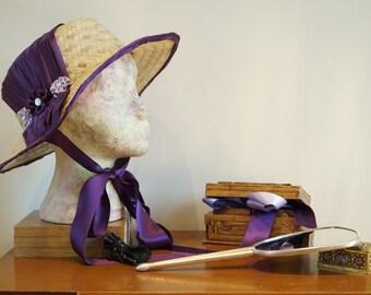 19th Century Wide Brim Straw Hat. Gerogian Regency Satin Trimmed. Country Style. Handmade Wedding. Larping Accessories
