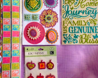 scrapbook stickers and embellishments, set of 4 pkgs, K&Co., BasicGrey, Pink, Blue, Green, Yellow for planners, cards, scrapbooking, journal