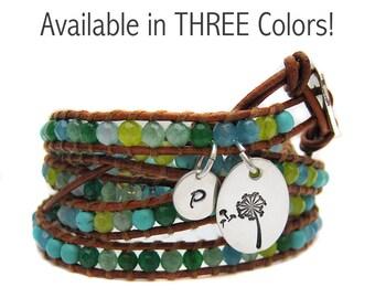 Gemstone Wrap Bracelet -Leather Beaded Wrap - Personalized Make a Wish
