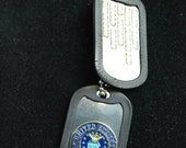 Military Style Dog Tags -Air Force Insignia Tag & Stamped Tag