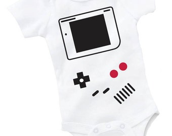 Video Game Vintage Handheld Onesie Bodysuit Baby Shower Gift Funny Boy Girl Gaming Geek Nerd NES
