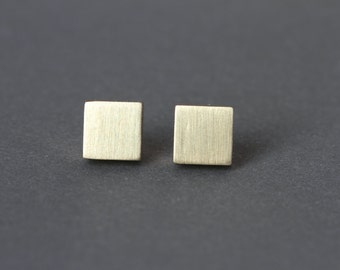 Minimalist Earrings Brass Studs Contemporary Jewelry