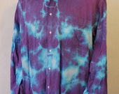 Tiedye upcycled mens long sleeve dress shirt, 100% cotton shirt, festival wear, unisex