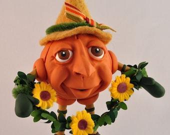 Polymer Clay Autumn Pumpkin Figurine