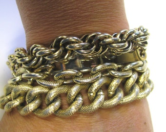 Multi Chain Steampunk Gold tone Bracelet, Repurpose Jewelry, Arm Candy