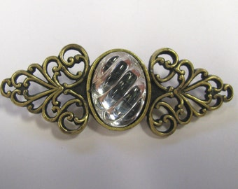 Vintage Art Glass Cabochon Antique Gold tone Filigree Bar Brooch