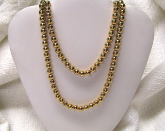 Vintage Gold Tone Metal Beaded Necklace, Double Strand Beaded Necklace, Gold Tone Beads