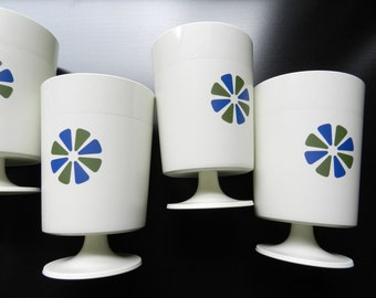Vintage David Douglas Off White Plastic Pedestal Cups Footed Tumblers Set of 4