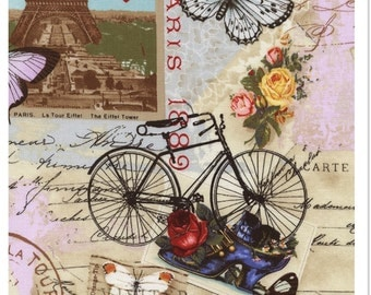 Paris collage fabric by timeless treasures C-2299
