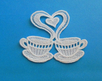 Lace Applique for Crafts or Crazy Quilt - 2 Cups of Coffee with Heart Shaped Steam