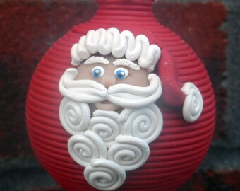 Santa polymer clay Christmas ornament