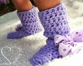 Girls Crochet Soft Bottom Boots - Indoor Soft Warm No Slip House Boots Slippers - MADE TO ORDER