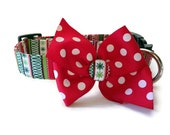Christmas Candy Stripe Dog Collar size Medium