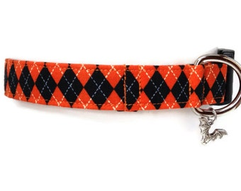 Halloween Argyle Dog  Collar size Large
