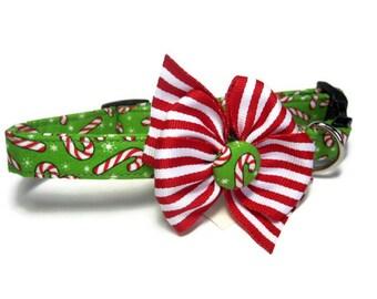 Candy Cane Dog Collar size Medium