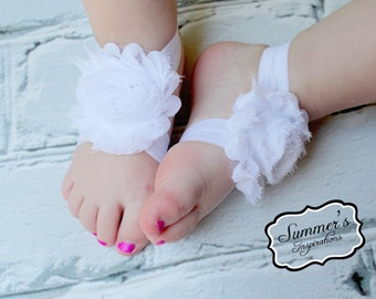 Baby Barefoot Sandals - Newborn sandal - Baby Shoes - Toddler Sandals - WHITE Barefoot sandal