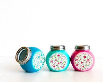 Spice Jars, Colorful Kitchen Set of 3, Shabby Chic Roses in Blue, Pink & Mint, Cottage chic kitchen