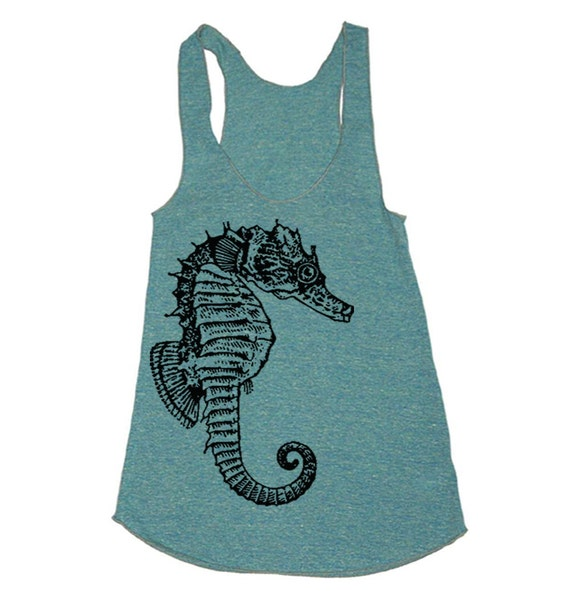 Seahorse Tri-Blend Racerback Tank - American Apparel tanktop - XS, S, M, and L (Color Options)