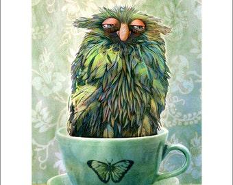 Monster - Sleepy Monster in a Teacup - Children's Art - Kids Room - Monster Art - Nursery Print - Monster Print - Cute Monster