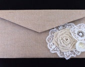 Custom Burlap Clutch with burlap and lace embellishments