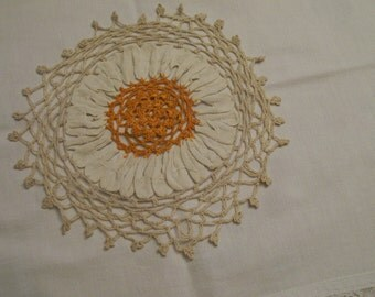 Vintage Crochet Doily Gold Flower Hand Made  Unique