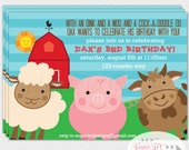 Barnyard Party Invitation, Farm Animal Party Invitation, Pig, Cow and Sheep Invitation - 5x7 Printable
