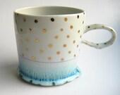 MADE TO ORDER Gold Polka Dot Porcelain Mug