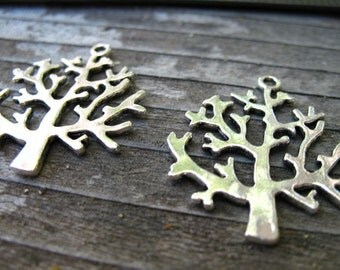 12 Silver Tree Pendants 32mm  Antiqued Silver Tree Of Life Charms